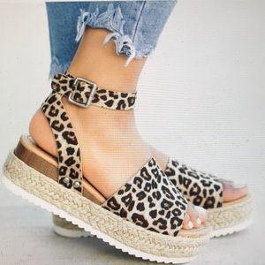 Leopard Print Espadrille Flats